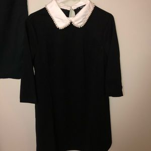 Black dress with white pearled collar L